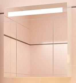 Зеркальный шкаф навесной с подсветкой Леос Кварта 80 Венге